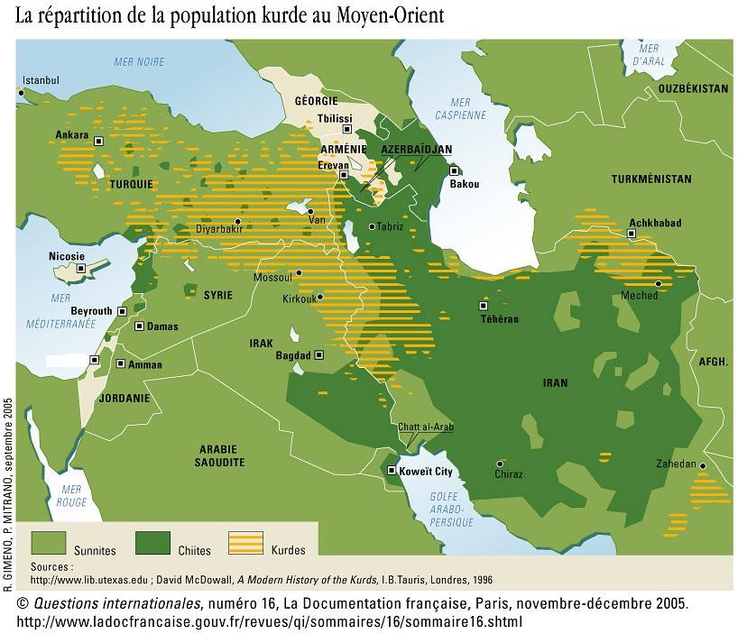 La répartition de la population kurde au Moyen-Orient- novembre-décembre 2005 dans maps خرائط qi16kurdes