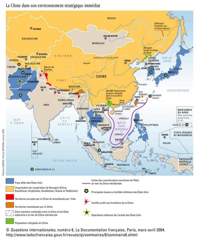 La Chine dans son environnement régional-mars-avril 2004 dans maps خرائط qi6chine-1
